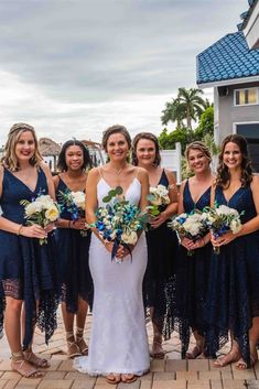 simple asymmetrical bridesmaid dresses, cheap dark navy bridesmaid dresses, cheap wedding party dresses #dressywomen #bridesmaids #lacedresses #weddingideas