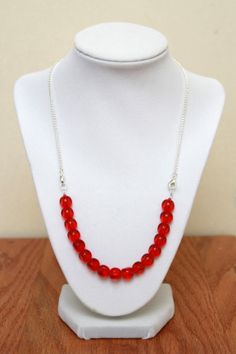 Interchangeable Necklace Red Glass Beaded Necklace Attachment Only