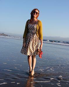 Dress, cardigan. Mustard + red. Beach.