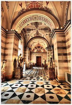 The Hermitage in St. Petersburg geometric floors, ornate ceilings