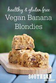 Healthy Vegan Banana Blondies Recipe  healthy, low fat, gluten free, vegan, refined sugar free, egg free, dairy free