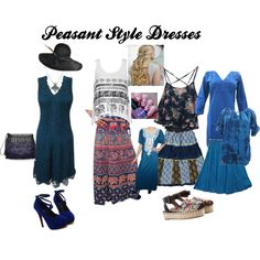 Peasant Style Dresses by mogulinteriordesigns on Polyvore featuring Ally Fashion, Valentino, Proenza Schouler and Yestadt Millinery