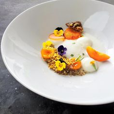 """The other angle • Confit apricot, candied apricot, fresh apricot, masala curry granola, feuilletine, pickled radish, greek yoghurt mousse (espuma), greek…"""