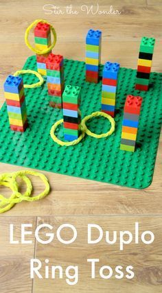 LEGO Duplo Ring Toss Game is fun for kids of all ages! By building & playing this game kids will practice fine motor & math skills!