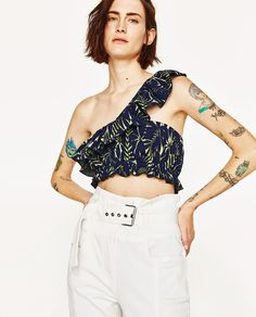 Image 2 of FRILLED JACQUARD TOP from Zara
