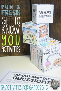 7 fun and fresh activities to help students get to know each other. Perfect for Back-to-School. Interactive and engaging. Grades 3-5 ($)