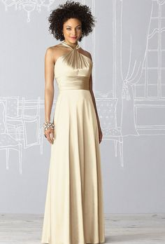 Brides: Metallic Bridesmaid Dresses | Stretch Charmeuse in Banana | Photo credit: After Six bridesmaid