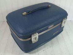 Retro Cornflower Blue Train Case - Vintage Travel Carry On - American Tourister Tri Taper