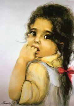Art, Kids, Muszynska-Zamorska, Poland Painting Of Girl, Young Female, Female Images, S Girls, Black Art, Art For Kids, Toddler Girl, Coloring Pages, Kids Fashion