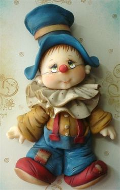 by Fabiana Simonetti ♥: Polymer Clay Figures, Polymer Clay Dolls, Polymer Clay Projects, Polymer Clay Creations, Fondant Figures, Cute Clown, Clay Baby, Clay Figurine, Clay Ornaments