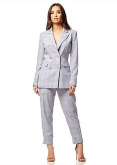 Pale Blue Checked Blazer and Trouser Set