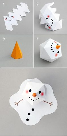 DIY: Melting paper snowman - with free template - soooo cute! I luv nearly all of her designs - have a look on here site or pinterest board