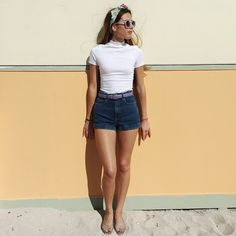 Pin-up inspired summer looks: The Ponte Mock Neck Short Sleeve Top, High Waist Jean Cuff Shorts, and the Jelly Lattice Flat paired with vintage eyewear and a headscarf to top it off.