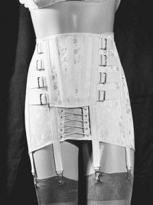 Girdle displayed on a mannequin. In the 1930s, technological innovations such as Lastex and other lightweight, easily washable stretch fabri...