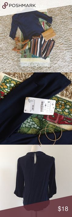 • Boatneck Romantic Navy Blue Zara Blouse • Amazing blouse from Zara with tags still attached. Never been worn and in great condition! Size small! Zara Tops Blouses