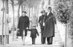 """December 1972, Audrey Hepburn Dotti photographed with her sons Sean H. Ferrer and Luca Dotti (with his nanny, Signora Jolanda de Mattei) by Lino Nanni near the public park on Villa Balestra in Rome (Italy), which is known in Italian as """"Il giardino pubblico di Villa Balestra"""", located in the extreme offshoot of the Monti Parioli, near her apartment in the Parioli area (a upper-class neighbourhood in the north of Rome)."""
