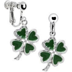 Jeweled Heart Shamrock Clip On Earrings Body Candy. Save 63 Off!. $11.99