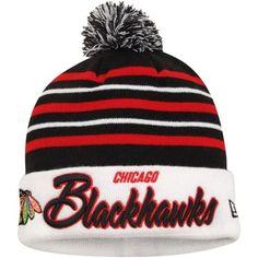 Mens Chicago Blackhawks New Era Black/White Snow Stripe Cuffed Knit Hat