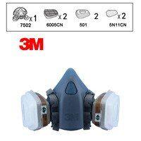 3 M 7502 6005 نصف قناع الوجه القابل لإعادة الاستخدام قناع جهاز التنفس الفورمالديهايد العضوية بخار خرطوشة 7 البنود ل 1 مجموعة Lt042 Chemical Vapor Sas