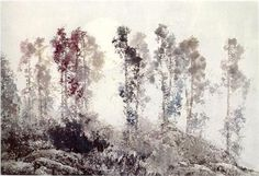 Li Shan  The moon is lingering above the trees  (Ink on Paper)