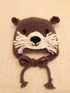 36 month Crochet Otter Hat by BeccasItsyBits on Etsy, $30.00