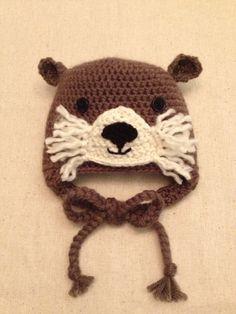 36 month Crochet Otter Hat by BeccasItsyBits on Etsy, $30.00