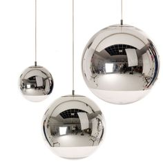 Mirror Ball pendant by Tom Dixon (565 CAD) ❤ liked on Polyvore featuring home, lighting, ceiling lights, decorations, ceiling light, furniture, tom dixon pendant lights, round lights, tom dixon lighting and round lamp
