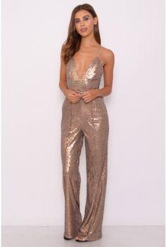 Gold Sequin Jumpsuit | Rare London