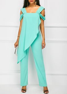 Strappy Cold Shoulder Green Overlay Jumpsuit on sale only US$38.21 now, buy cheap Strappy Cold Shoulder Green Overlay Jumpsuit at liligal.com