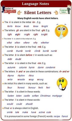 Silent letters when speaking English Phonics, Teaching English Grammar, English Grammar Worksheets, English Verbs, English Writing Skills, English Vocabulary Words, English Language Learning, English Phrases, Learn English Words