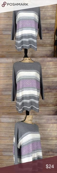"Sonoma gray white purple Baja Poncho sweater. New with tags Sonoma women's size xl gray white purple Baja Poncho sweater. Excellent condition. No rips holes or stains. Retail $44  Measurements: Armpit to armpit- 26.5"" Armpit to sleeve- 11.5"" Length- 26.5""  I ship fast! Pay before 4:30pm Monday thru Friday and I will ship the same day! Thank you for looking! Check out my other items! Sonoma Sweaters Crew & Scoop Necks"