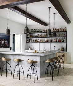 See inside a six-bedroom, 10-bathroom home designed by Lauren Liess in Pompano Beach, Florida. Barrel Vault Ceiling, Florida Villas, Pecky Cypress, Lauren Liess, High Walls, Fireplace Design, Bath Design, Architectural Elements, Bars For Home