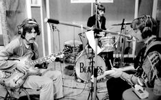 The Beatles rehearsing Lucy In The Sky With Diamonds in E.M.I. Studio Two (photo by Henry Grossman, 28th February 1967, 7 pm).