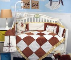SoHo 14 Pieces Toffee Brown & white Minky Chenelle Baby Crib Nursery Bedding Set 13 pcs included Diaper Bag with Changing Pad & Bottle Case **Limited time Special ! ** SoHo Designs http://www.amazon.com/dp/B0012IZHR0/ref=cm_sw_r_pi_dp_Y5lMub1704FHS