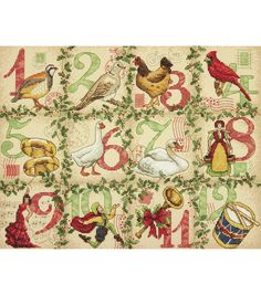 "12 Days Of Christmas Counted Cross Stitch Kit-14""X11"" 14 Count, , hi-res"