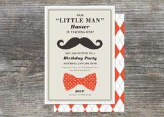 Little Man Party Invitation 15 by brightsideprints on Etsy, $25.35