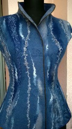 """Купить Валяный жилет """"Джинсовый"""".Продан. - синий, джинсовый, женский жилет, валяный жилет, шерсть"""