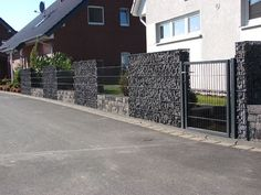 Customer references – Zaun – und Steinhafen GmbH in Leverkusen – Gabions –… - Modern Portable Fence, Diy Backyard Fence, Decorative Garden Fencing, Modern Fence Design, Fence Styles, Ga In, Wooden Fence, Entrance Gates, Gnome Garden