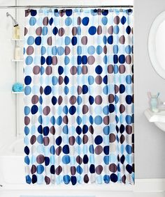 Dots Printing Fabric Shower Curtain Blue Bathroom Shower Curtain At Home Is  Available And Free
