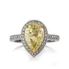 pear shaped engagement rings   Pear-Shaped Engagement Rings yellow diamond