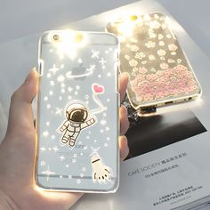 Fashion PC Flash Up light Led Mobile Phone Case Shell Cover for iPhone6 6s 5 5s  6plus 5.5inch Sakura Astronaut Releif Anti-Skid