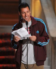 Adam Sandler accepting the brass balls. So funny - hes so handsome!