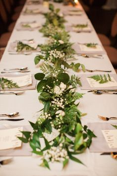 Best Rustic Natural Wedding Reception Long Table Decor with White Baby's Breath . Best Rustic Natural Wedding Reception Long Table Decor with White Baby's Breath a. Long Table Decorations, Long Table Centerpieces, Greenery Centerpiece, Flower Centerpieces, Wedding Centerpieces, Wedding Decorations, Centerpiece Ideas, Centrepieces, Wedding Reception Ideas