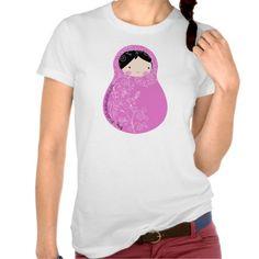 Matrioska Pink Flowers Camisetas