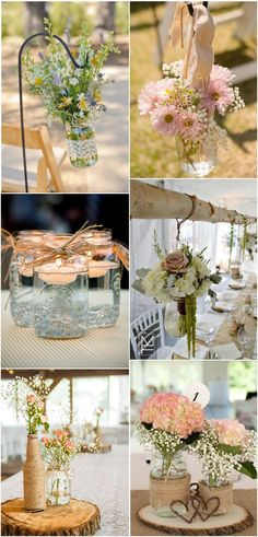 Mason Jars Inspired Vintage Country Wedding Ideas #WeddingIdeasCountry