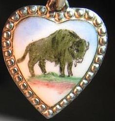 Victorian Buffalo Puffy Heart ~  From The Estate of Joan Munkacsi
