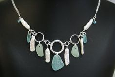 """sea glass necklace in colors of aqua and sea foam with fresh water stick pearls  18"""""""