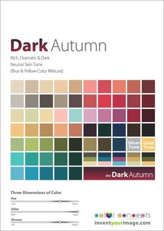 Three Drops of Sunshine: The Difference Between Dark Autumn and Dark Winter Deep Autumn Color Palette, Skin Color Palette, Colour Palettes, Dark Autumn, Soft Autumn Deep, Winter Colors, Summer Colors, Pierre Hardy, Neutral Skin Tone