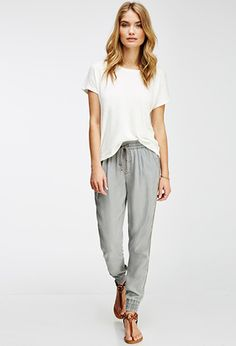 Life in Progress Tuxedo-Striped Joggers | FOREVER21 - 2000079548 Lazy Day Outfits, Casual Outfits, Cute Outfits, Fashion Outfits, How To Wear Joggers, Wedges Outfit, How To Wear Scarves, Pants For Women, My Style