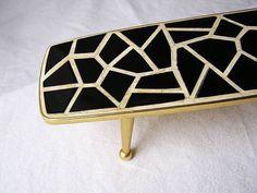70er Mini Blumentisch / Messing  Keramik Mosaik / Hand
